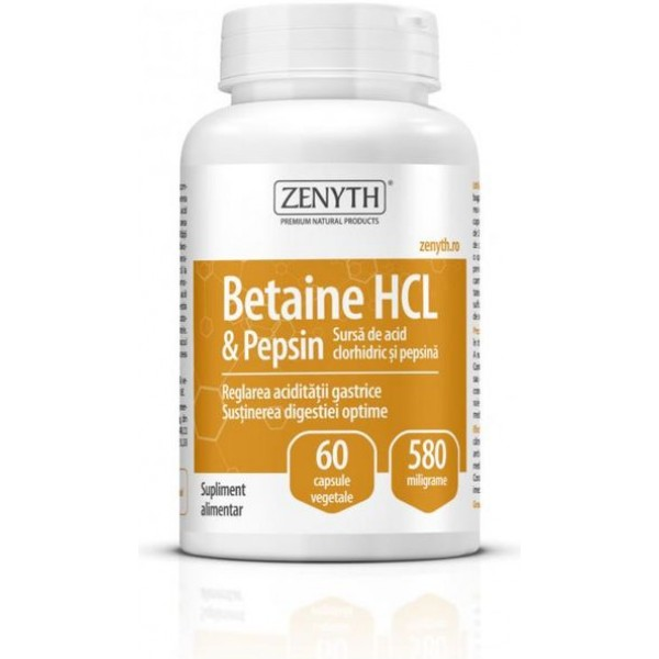 Betaine HCL & Pepsin 580mg 60cps Zenyth