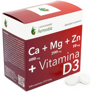 Ca+Mg+Zn +Vitamina D3 120cpr Remedia