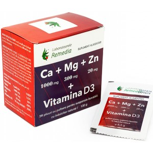 Ca+Mg+Zn+Vitamina D3 20dz + 10dz GRATIS Remedia